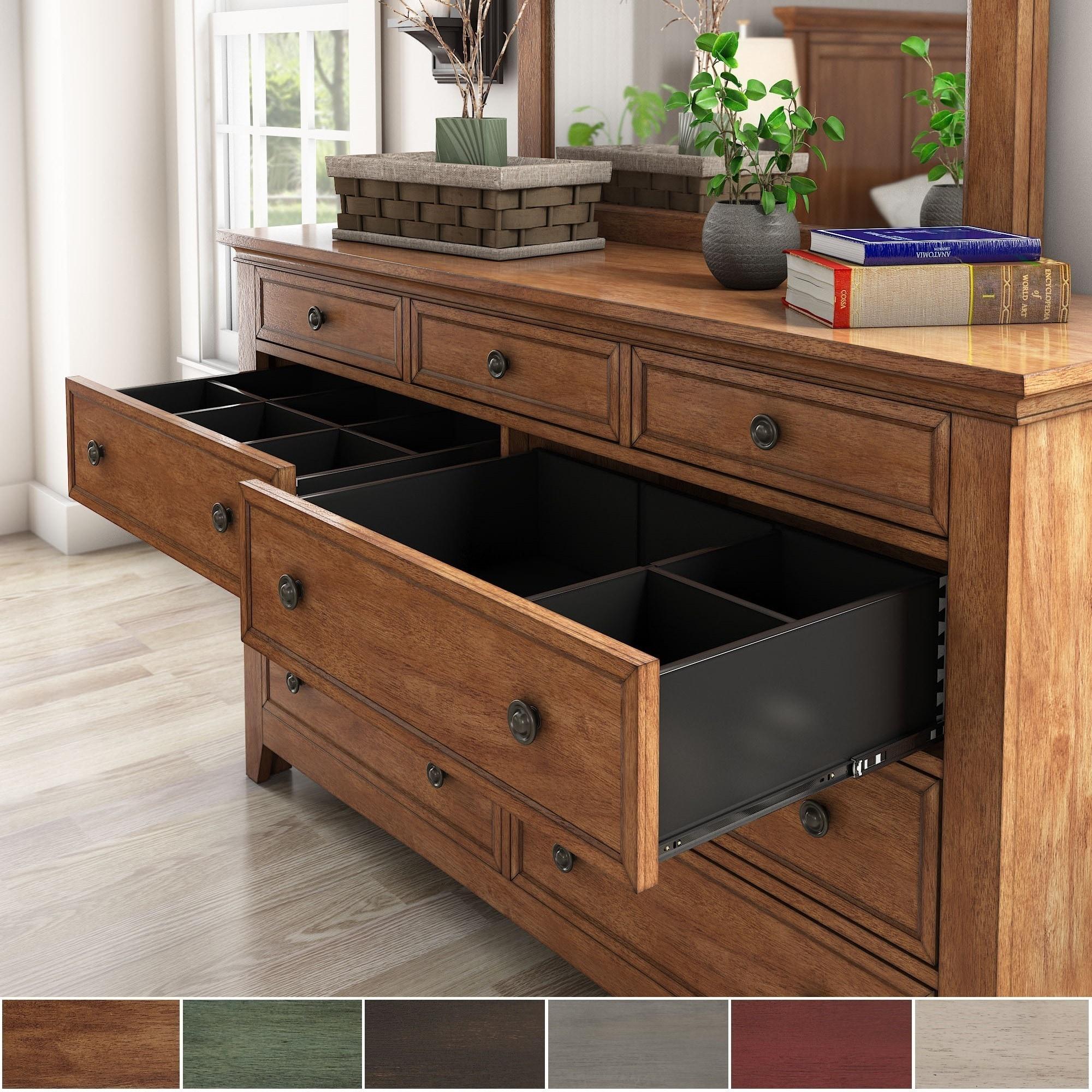 Ediline 9-Drawer Wood Modular Storage Dresser and Mirror ...