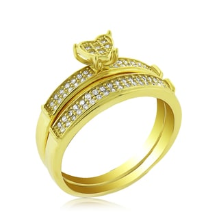 .925 Sterling Silver Gold Plated Cubic Zirconia Heart Shape Pave Two Piece Bridal Set Ring