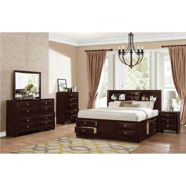 shop ankara espresso finish wood bedroom set includes king bed dresser mirror nightstand and