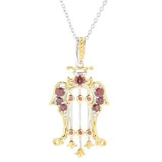 Michael Valitutti Palladium Silver Paris Ruby & Almandine Garnet Lyre Pendant