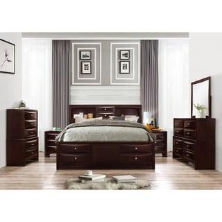 Ankara Espresso Finish Wood Bedroom Set, Includes Queen Bed, Dresser Mirror, 2 Nightstands and Chest