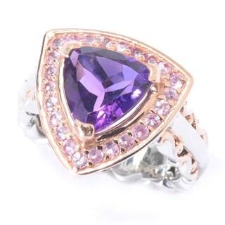 Michael Valitutti Palladium Silver Trillion African Amethyst & Pink Sapphire Halo Ring