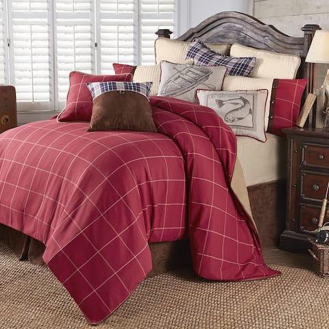 HiEnd Accents South Haven Red Cotton 4-piece Bedding Set