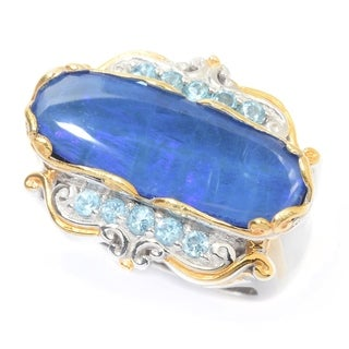 Michael Valitutti Palladium Silver Boulder Opal Doublet & Swiss Blue Topaz East-West Ring
