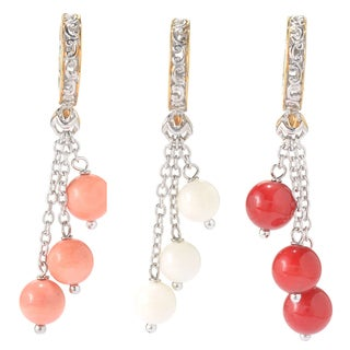 Michael Valitutti Palladium Silver Bamboo Coral Three-Bead Drop Charm (3 options available)