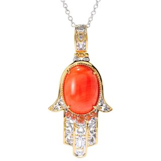 Michael Valitutti Palladium Silver Salmon Bamboo Coral & Orange Sapphire Hamsa Pendant|https://ak1.ostkcdn.com/images/products/15959804/P22357918.jpg?_ostk_perf_=percv&impolicy=medium