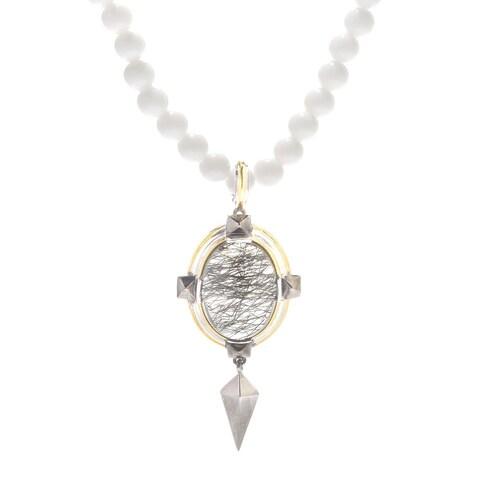 Michael Valitutti Palladium Silver Tourmalinated Quartz & White Agate Pendant w/ Beaded Necklace