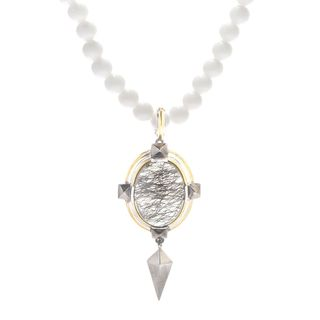 Michael Valitutti Palladium Silver Tourmalinated Quartz & White Agate Pendant w/ Beaded Necklace