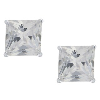Sterling Silver Princess-Cut Cubic Zirconia Stud Earrings