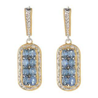 Michael Valitutti Palladium Silver Oval Shaped Ceylon Blue Sapphire Drop Earrings