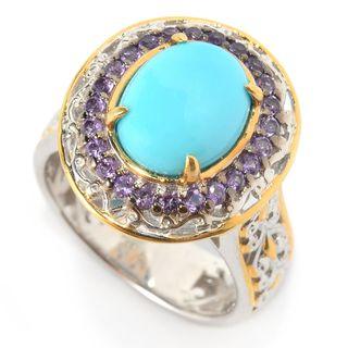 Michael Valitutti Palladium Silver Sleeping Beauty Turquoise & Amethyst Halo Ring
