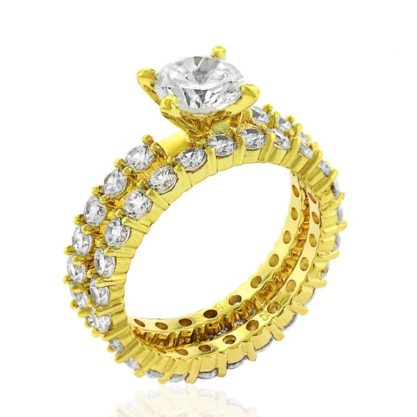 .925 Sterling Silver Gold Plated Cubic Zirconia Round Cut Pave Two Piece Bridal Set Ring
