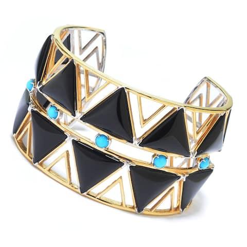 Michael Valitutti Palladium Silver Black Onyx & Sleeping Beauty Turquoise Wide Cuff Bracelet