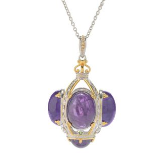 Michael Valitutti Palladium Silver African Amethyst & Chrome Diopside Cage Pendant