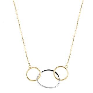 Fremada Italian 14k Two-Tone Gold Circle Necklace (16.5 inches)