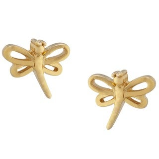 Gold over Sterling Silver Dragonfly Stud Earrings