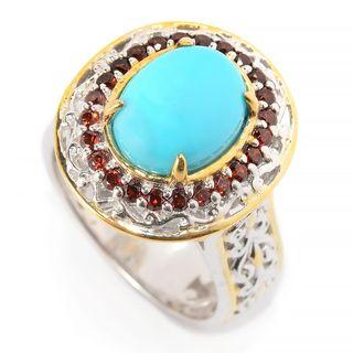 Michael Valitutti Palladium Silver Sleeping Beauty Turquoise & Garnet Halo Ring