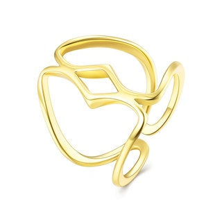 Hakbaho Jewelry Gold Plated Laser Cut Pear Shape Adjustable Ring