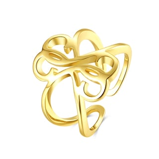 Hakbaho Jewelry Gold Plated Laser Cut Swirl Design Adjustable Ring