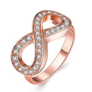 Hakbaho Jewelry Rose Gold Plated CZ Infinity Design Ring