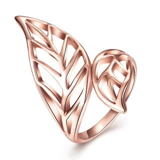 Hakbaho Jewelry Rose Gold Plated Laser Cut Leaf Branch Ring