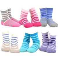 TeeHee Kids Girls Stripes Fashion Cotton Short Crew 6 Pair Pack (Tonal Stripe)
