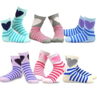 TeeHee Kids Girls Stripes Fashion Cotton Short Crew 6 Pair Pack (Stripes and Heart)