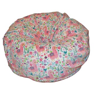 Ahh Products Llama Love Multicolored Fabric Anti-pill Washable Beanbag Chair