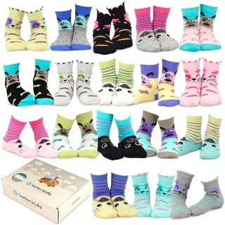 TeeHee Kids Girls Fashion Cotton Fun Crew 18 Pair Pack Gift Box (Cat-Dog-Pig Face)