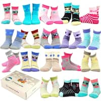 TeeHee Kids Girls Fashion Cotton Fun Crew 18 Pair Pack Gift Box (Butterfly and Owl)