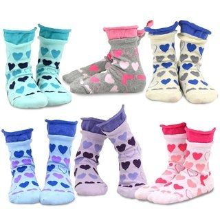 TeeHee Kids Girls Cotton Roll Top Crew Socks 6 Pair Pack (Hearts Ruffle)