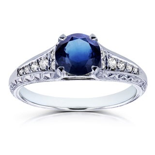 Annello by Kobelli 14k White Gold 1 1/10ct TGW Sapphire and Diamond Vintage Engagement Ring (H-I, I1-I2)