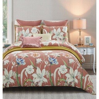 Lavish Night Coral Garden 7-piece Cotton Duvet Set