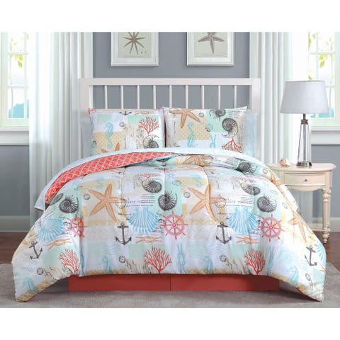 Belize Coastal Printed Reversible Comforter Set