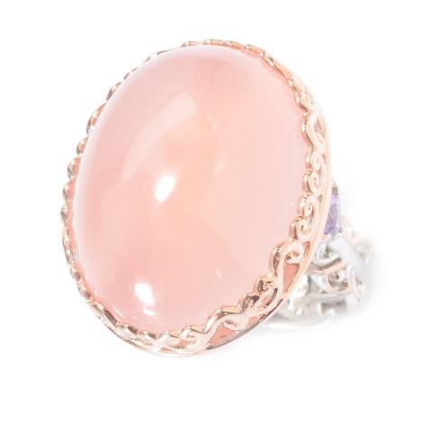 Michael Valitutti Palladium Silver Madagascar Rose Quartz & Amethyst Ring
