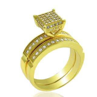 .925 Sterling Silver Gold Plated Cubic Zirconia Princess Pave Two Piece Bridal Set Ring