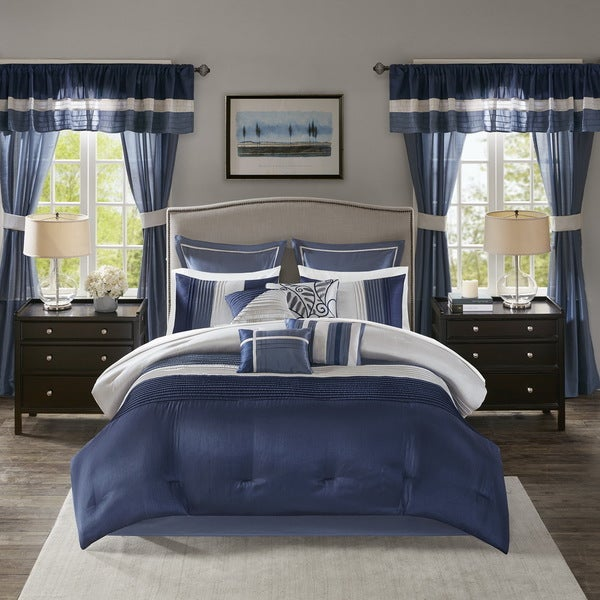 Madison Park Essentials Vassar Navy 24 Piece Room in a Bag - Window Panels & Sheet Set Included