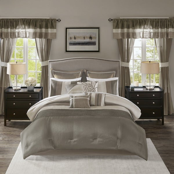 Madison Park Essentials Vassar Natural 24 Piece Room in a Bag - Window Panels & Sheet Set Included