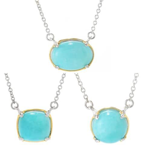 Gems en Vogue Palladium Silver Choice of Shape Amazonite Necklace
