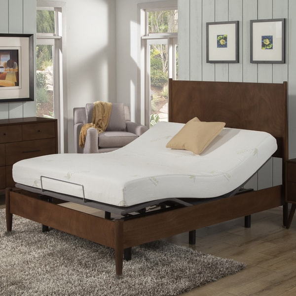 shop ac pacific 8 inch twin xl size aloe memory foam mattress and adjustable bed base set on. Black Bedroom Furniture Sets. Home Design Ideas