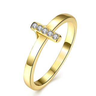 Gold Plated Cubic Zircon Line Ring