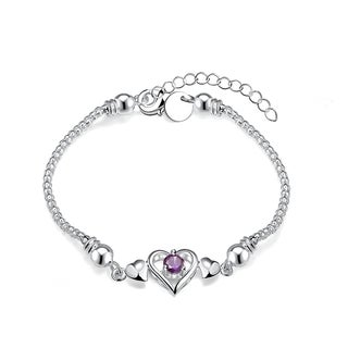 Hakbaho Jewelry Sterling Silver Petite Purple Citrine Heart Shaped CZ Bracelet