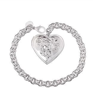 Hakbaho Jewelry Sterling Silver Ingrain Heart Emblem Bracelet