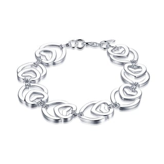 Hakbaho Jewelry Sterling Silver Multi Heart Shaped Connected Bracelet