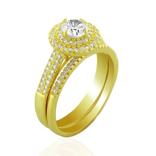 .925 Sterling Silver Gold Plated Cubic Zirconia Round Halo Pave Two Piece Bridal Set Ring