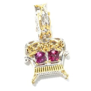 Michael Valitutti Palladium Silver Checkerboard Cut Rhodolite Garnet Love Seat Drop Charm