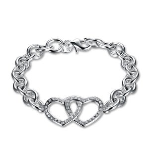 Hakbaho Jewelry Sterling Silver Duo-Hearts Chain Connected Bracelet