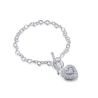 Hakbaho Jewelry Sterling Silver Purple Citrine Infused Emblem CZ Bracelet