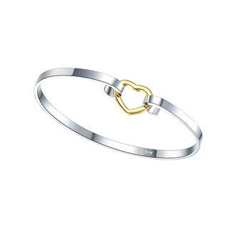 Hakbaho Jewelry Sterling Silver Heart Closure Petite Bangle