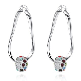 Sterling Silver Pave Ball Hoop Earring